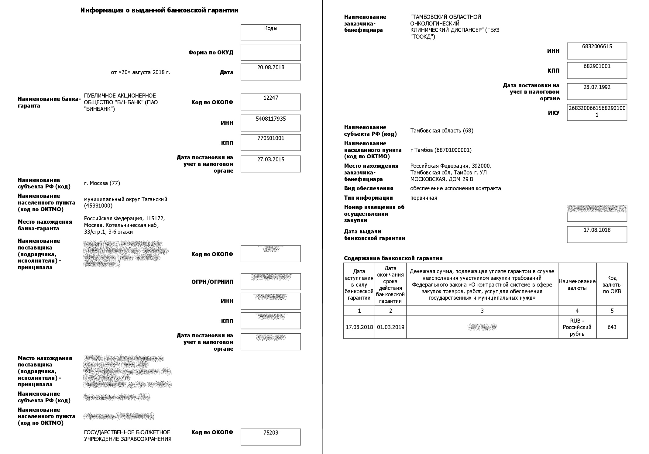 Пример выписки из открытого реестра банковских гарантий